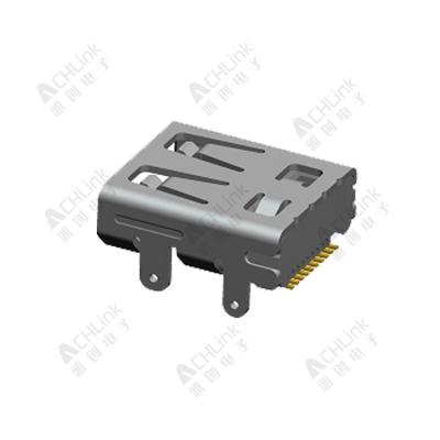 Micro HDMI (D type) 19pin receptacle STD.top-mount board-height 2.95mm. Dual-SMT type